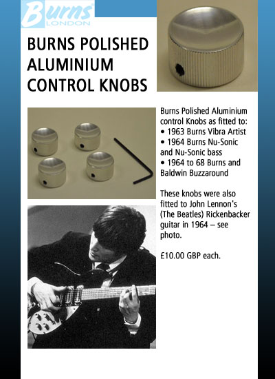 burns guitars accessories guitar jack wiring diagram burns polished aluminium control knobs as fitted to 1963 burns vibra artist 1964 burns nu sonic and nu sonic bass 1964 to 68 burns and baldwin